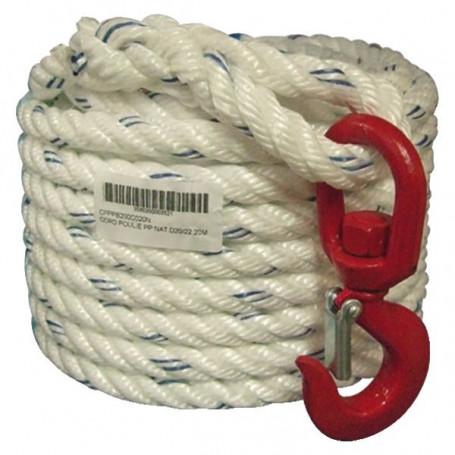 Corde à poulie en polypropylène + crochet naturel
