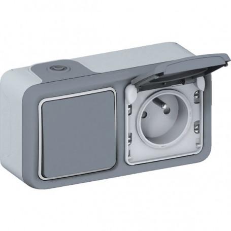 Interrupteur + prise Plexo gris